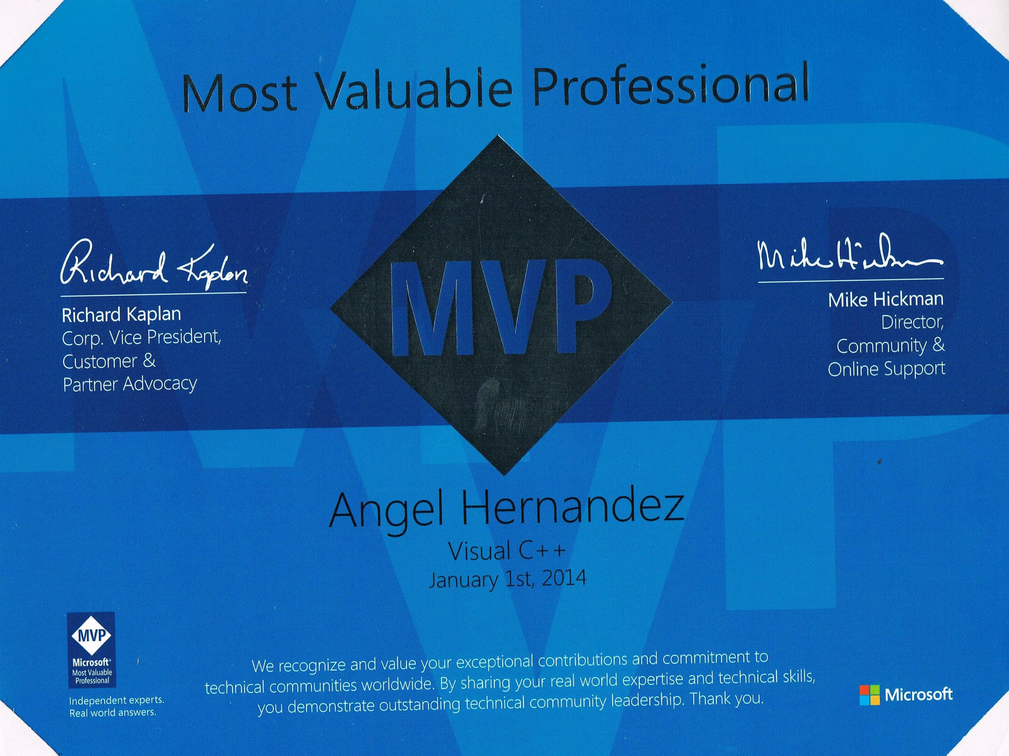 Visual C++ MVP 2014