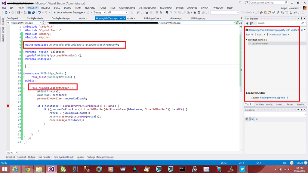 Unit testing our Visual C++ code with Microsoft Unit Testing