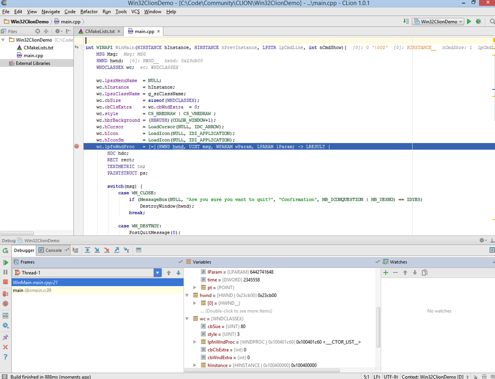 Building Native Windows Applications with CLION, GCC and